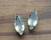 Vintage Unfoiled Pale Aqua Navette Rhinestone Charms in Open Back Brass Ox Settings Top Loop 15x7mm (2)