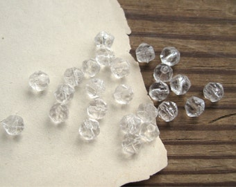 Crystal English Cut 6mm Rough Faceted Beads Czech Glass (25)