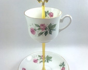 Pink Roses Teacup Stand Tidbit Tray