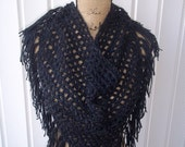 Ready to Ship Crochet Black Triangle Fringe BoHo Scarf/Wrap w/Button