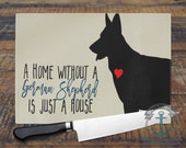 Glass Cutting Board - A German Shepherd Home | Breed Love Pet Decor | Custom Available | Small or Large Kitchen Art for Your Countertop.