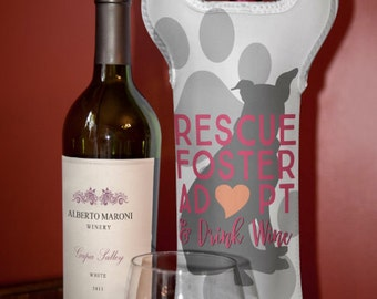 Wine Bag BYOB | Rescue Dog Foster Adopt Pitbull | Neoprene Wine Carrier Tote | Bar Accessory | Hostess Gift | Custom Available
