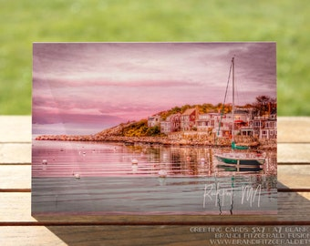 Rockport MA Greeting Card | Pink Sunset Sailboat and Beach Homes Nautical | A7 5x7 Folded - Blank Inside - Wholesale Available