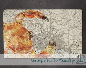 Placemat - Baltimore Map Red | Maryland Crab Beach House Decor | Anti Skid/Non Slip Fabric Top Rubber Backed Awesomeness