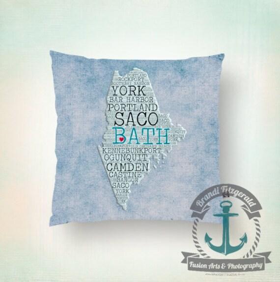 Bath Maine Throw Pillow | New England Typography City Home Decor