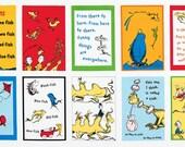 "Dr Seuss One Fish Two Fish Book PANEL from Robert Kaufman by Dr Seuss Enterprises - 23.5""x44"""