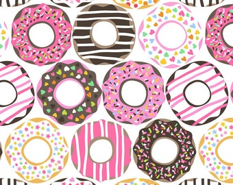Doughnut Love on White from Blend Fabric's Lolly Collection by Maude Asbury