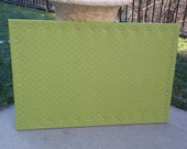 "PinBoard Corkboard Cork Bulletin Message Pin Dream Board 23"" x 35"" Bright Apple Green Small Print Patterned Fabric Brushed Nickel Nail Heads"