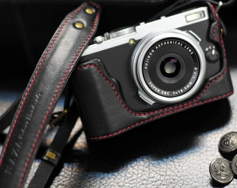Cow leather case for Fujifilm X70 include leather half case and leather strap in black