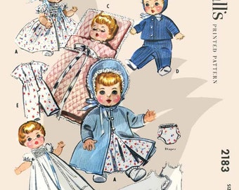 Reproduction Vintage Baby Doll Wardrobe Sewing Pattern M2183 Size 8-9""