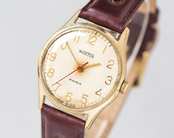 Classy men's watch Wostok\East, gold plated men watch retro, dress wristwatch gent's accessory, Soviet men watch, new premium leather strap