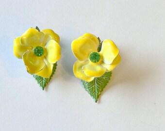 yellow enamel clip earrings