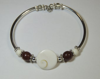 Handmade Silver Tube Unique NO CLASP  Natural Shell Bracelet