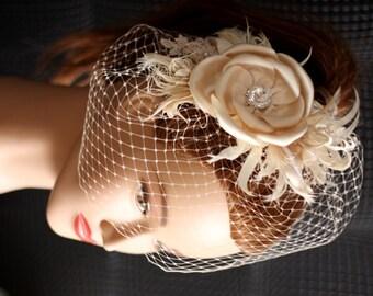 Ivory Champagne Wedding Birdcage Veil. Bridal Hair Flower, Wedding Hair Accessories, Wedding Hair Flower Comb, Feathers, birdcage veil