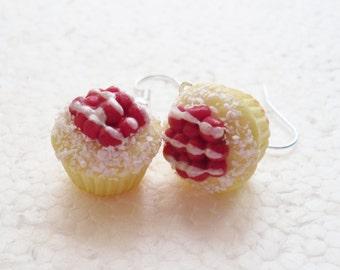 Cupcake Earrings. Cherry Meringue. Polymer Clay.