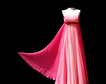 Vintage Pink Chiffon Strapless Cocktail Dress