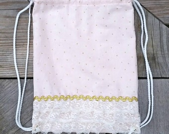Children's Size Pink Corduroy   Drawstring Backpack with Lace Ruffles