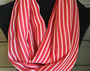 New Red and White Lightweight Striped Infinity Scarf