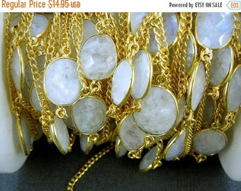 35% off Wholesale Moonstone Station Connector Gold Plated Chain per foot - ABSOLUTELY STUNNING Chain (Chn-179)
