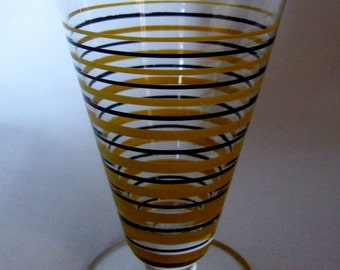 Vintage striped juice glass pedestal wine tumbler mid century