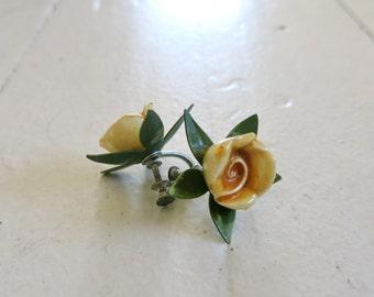 Yellow vintage roses Earrings