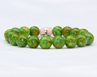 Natural Green Gemstone Beaded Bracelet with Silver Nature Charms