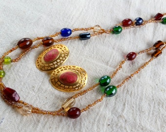 Vintage Long Glass Bead Necklace, Fall Colors Jewelry, Vintage Oval Post Earrings