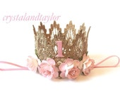 Ready to Ship, Pale Pink Birthday Crown, 1st Birthday Crown, Lace Crown, Gold Crown, Birthday Crown, Baby Girl Crown, Gold Girl Crown