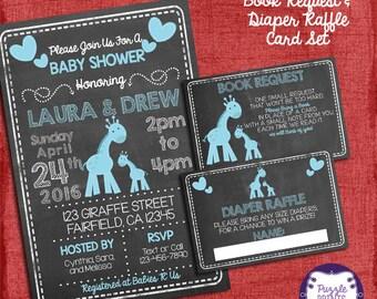 Giraffe Baby Shower Invitation It's A Boy Theme Baby Shower Set -Invite + Diaper Raffle Ticket + Book Request   - I design you print