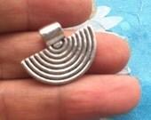 25pc 22x16mm tibetan silver fan shape tube pendant bails