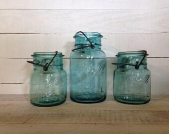 Vintage Auqa Ball Mason Jars