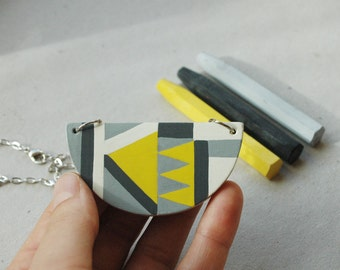 Wooden necklace,geometric pattern,gray,yellow necklace,halfmoon wood necklace