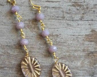 Purple Link Earrings Pink Gold Long Earrings Simple