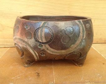 Brown and Green Textured Ceramic Planter