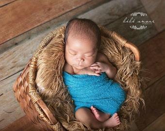Stretch wrap - 'CARIBBEAN BLUE' newborn stretch wrap  / scarf - prop blanket - knitbysarah - Stitches by Sarah
