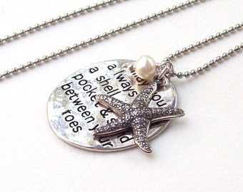 Silver Starfish Necklace, Tropical Necklace, beach jewelry, beach blessing, stainless steel, sand between your toes, charm necklace, florida