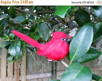 AUGUST SALE 20% Off, Red Cardinal Artificial Clip on Bird