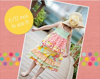 Lily's Lovely Apron Romper PDF Pattern Size 6/12m to 8 Girls