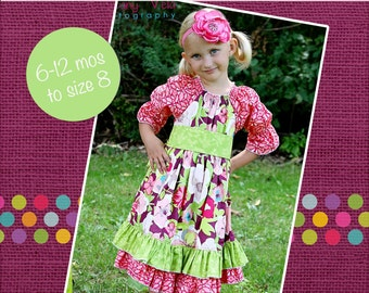 Elena's Twirly Peasant Dress PDF Pattern Now size 6 months to size 8