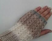 Handcrafted knitted Fingerless Gloves Winter mitten Variegated  beige wool yarn