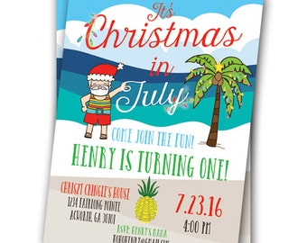 Christmas in July Invitation Hawaiian Luau invitation Hawaiian Party Invitation Customizable 5x7 Santa Pineapple Palm Tree Summer Santa