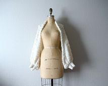Vintage knit ivory shawl . vintage popcorn knit shrug