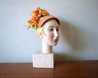 Vintage 1960s hat . 60s orange and yellow floral hat