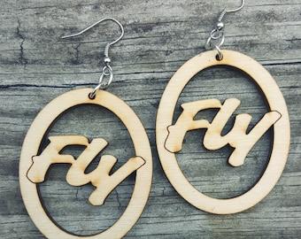 Fly Wooden Earrings