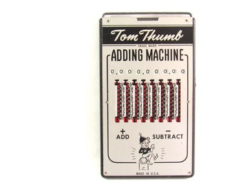 Vintage Tom Thumb Adding Machine - Handheld Calculator - Original Carrying Case - Addition - Subtraction - Vintage Toy - Collectible
