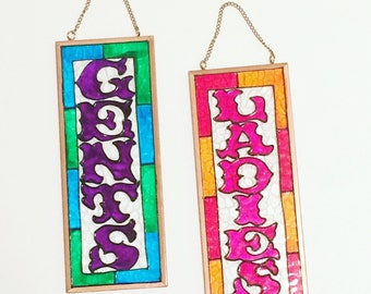 Ladies & Gents Stained Glass Hanging Signs