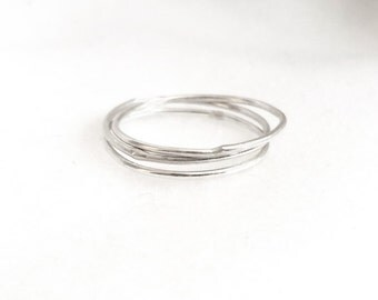 Set of two sterling silver stackable mini-rings