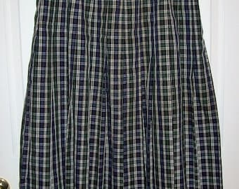 Vintage Ladies Navy & Green Tartan Plaid Skirt by Orvis Size 14 Only 10 USD