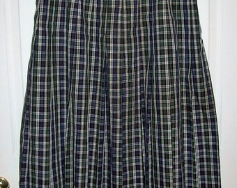Vintage Ladies Navy & Green Tartan Plaid Skirt by Orvis Size 14 Only 7 USD