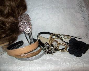 Vintage 1980s Ladies Headbands Hair Accessories Rhinestones, Flowers & More All 8 Just 5 USD